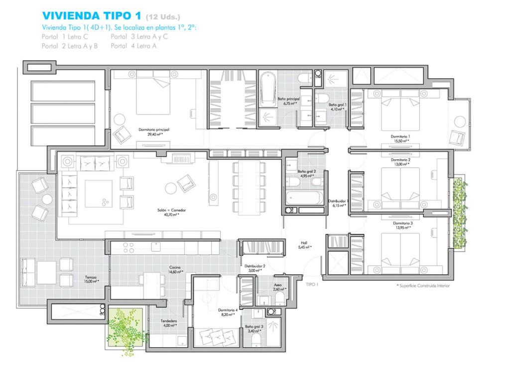 Viviendas en 1 o 2 planta encinar garden - Plantas para dormitorio ...